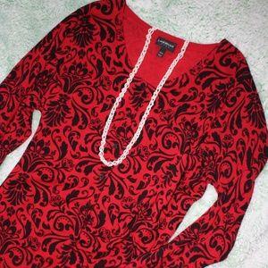 Lane Bryant Red & Black Paisley Sweater
